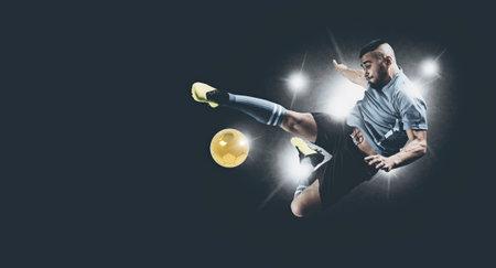 Soccer player in action on dark background. Matte effect