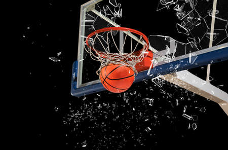Shattered backboard. Basketball concept on dark background Stock fotó