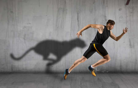 Sporty young man running on urban background. Sports banner