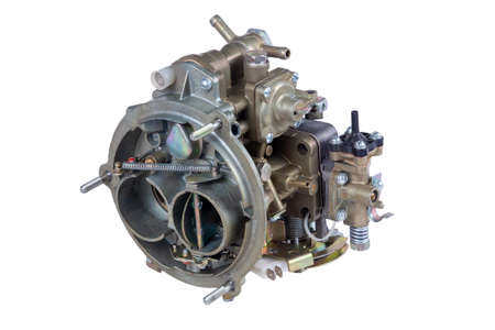 The carburetor of the internal combustion engine of the car isolated on white background Archivio Fotografico