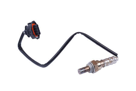 Lambda probe - oxygen sensor device designed to record tamount of remaining oxygen in the exhaust gas of car engine is located in exhaust system. Metal spare part for replacement to repair in workshop Archivio Fotografico