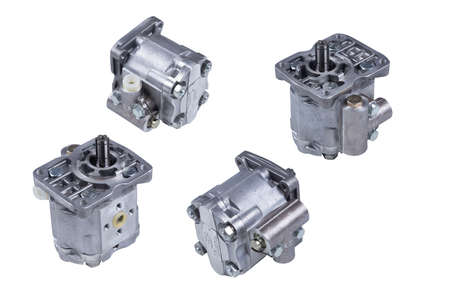 Hydraulic power steering pump on a white background engine parts Stock Photo