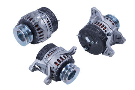 Generator. Image of an automobile alternator isolated on a white background. Path clipping is enabled.