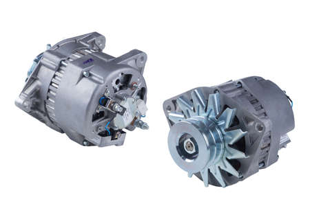 Car alternator isolated on white. Clipping path included. Banque d'images