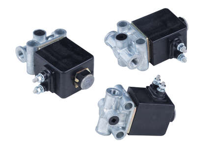 Electromagnetic valve of blocking of wheels of the car on an isolated white background.