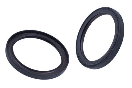 Oil seal on a white background with shallow depth of field