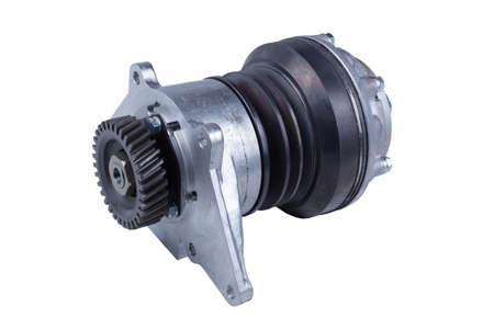 new hydraulic coupling of the fan drive of the Russian truck isolated on a white background. Spare parts Banque d'images