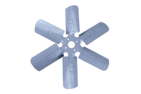 truck engine cooling fan with metal blades on white background. Banque d'images