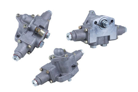 truck gearbox air distributor isolated on white background. Set of three parts Banque d'images