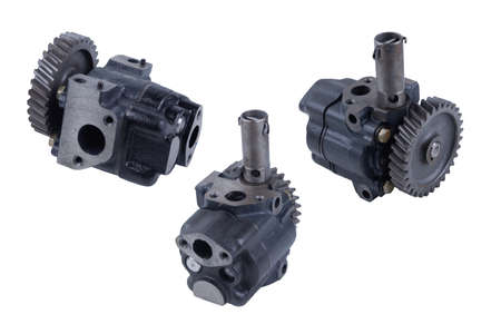 russian truck oil gear pump isolated on white background. view from both sides Banque d'images