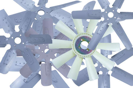 truck engine cooling fans with metal blades on white background.
