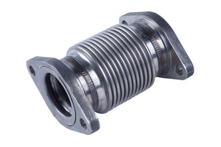 metal hose of the intake tract of a truck, isolated on a white background