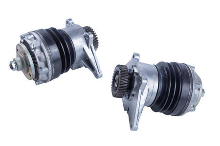 set of two new hydraulic truck fan drive couplings isolated on white background. Spare parts