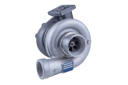 new modern truck turbocharger isolated on white background. turbocharger to increase the power of the car engine.
