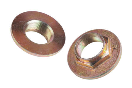 Mechanical industrial Flange Nut made of steel on a white insulated background. Truck Spare parts