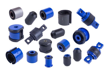 silent blocks, truck stabilizer bushings, isolated on white background. spare parts. set of many spare parts Banque d'images
