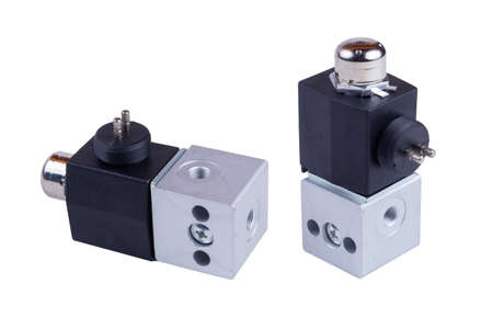 Chinese truck differential lock solenoid valve isolated on white background. spare parts. view from both sides