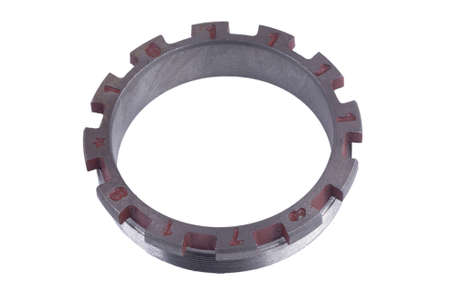 rear hub nut, for Chinese truck, isolated on white background. spare parts. Banque d'images