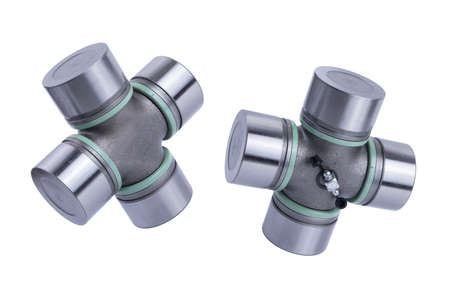 The crossbar of the steering shaft, The propeller shaft yoke for cars isolated on white background. New car parts.