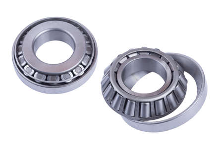 truck roller bearing on white background isolated. front and rear view. Part of the car