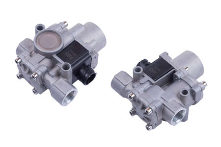 ABS modulator of the brake system with a magnetic valve for a truck, auto part, car brake system part white background