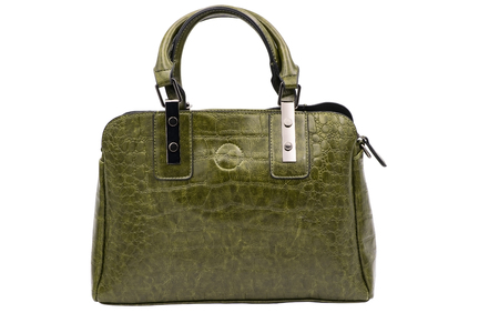 Women's leather green bag alligator pattern. Isolate on white background.