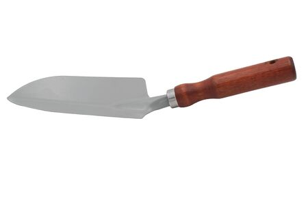 Garden planting scoop made of alloy steel with wooden handle. Isolate on white background.