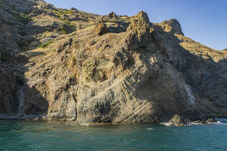Kara-Dag mountains, view of the rocks from the sea, Crimea, Russia