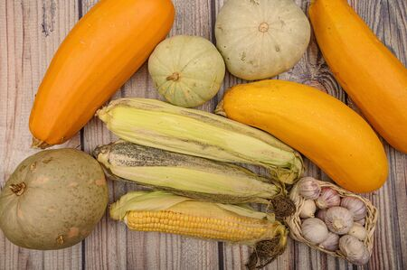 An unshelled ear of corn, young garlic in a wicker basket, marble pumpkins and yellow zucchini on the table. Autumn harvest. Healthy diet. Fitness diet. For a sweet treat 版權商用圖片