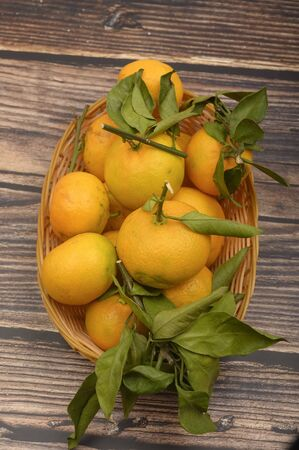 A few yellow tangerines on a twig with green leaves in a wicker basket on a wooden background. Autumn harvest. Modern agriculture. For a sweet treat. Close up
