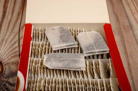Tea bags in a paper box. Close up Banque d'images