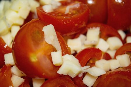 Vegetable salad sliced tomatoes and onions. Close up Archivio Fotografico
