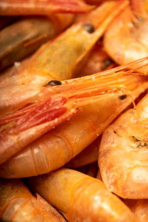 Cooked Atlantic shrimps. Close up. A traditional food of coastal cuisine