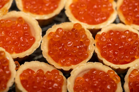 Tartlets with salmon caviar on a platter. Close-up, selective focus 写真素材