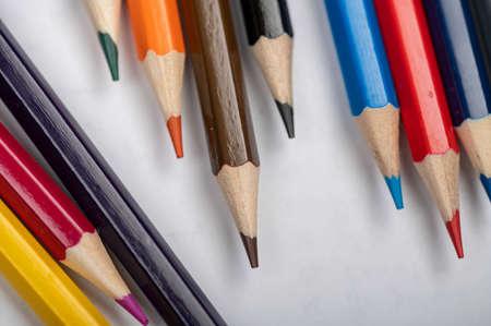 A few colored pencils. Close-up, selective focus Stock Photo