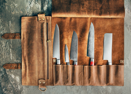 Set of professional cook tools. Special case of cook knives. View from above Banco de Imagens
