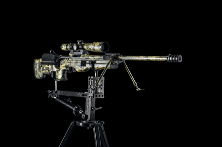 Sniper rifle on a special mount. Mixed media Imagens - 115842547