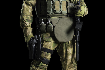 Fighter of a special unit is in full combat gear. Mixed media Imagens - 115859534