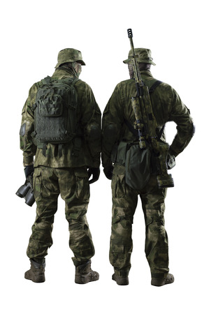 Two soldiers of a special unit are in full ammunition. Banque d'images