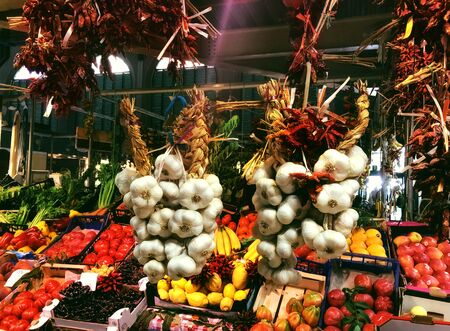 Fresh produce on a market in Florence. Tourism concept. Mixed media Imagens