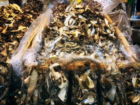 Market in Florence. Fresh mushrooms. Mixed media