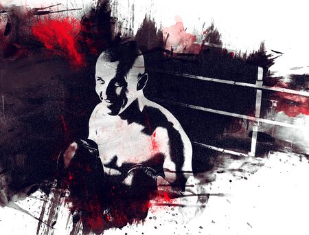 Portrait of kickboxer occupying an opponent in the ring. Sports concept, Muay Thai. Mixed media