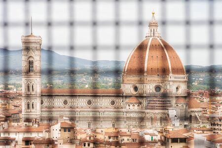 View of Santa Maria del Fiore through the cage of the museum opposite. Mixed media