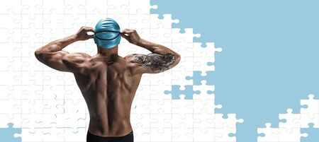 Portrait of a swimmer in the form of a puzzle. The concept of swimming and water games. Back view. Mixed media