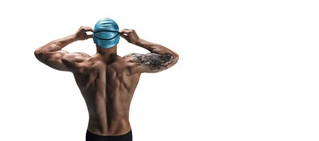 Portrait of a swimmer. The concept of swimming and water games. Back view. Mixed media 스톡 콘텐츠