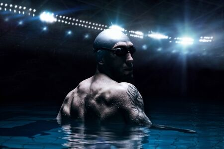 Portrait of a swimmer on the background of a sports arena. The concept of swimming and water games. Back view. Mixed media