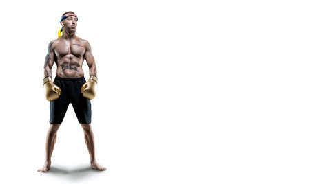 Professional Thai boxer stands in full combat gear. Muay Thai, kickboxing, martial arts concept. Mixed media