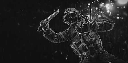 Man in military uniform hangs from a rope and swings a special device to break windows. Video games concept. Cybersport. Shooter. Mixed media