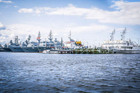 Saint Petersburg / Russia / 23.07.2021. Image of warships at Fort Constantine, Kronstadt. Military concept.