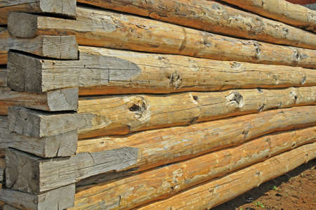 Wall of a rural log house photo